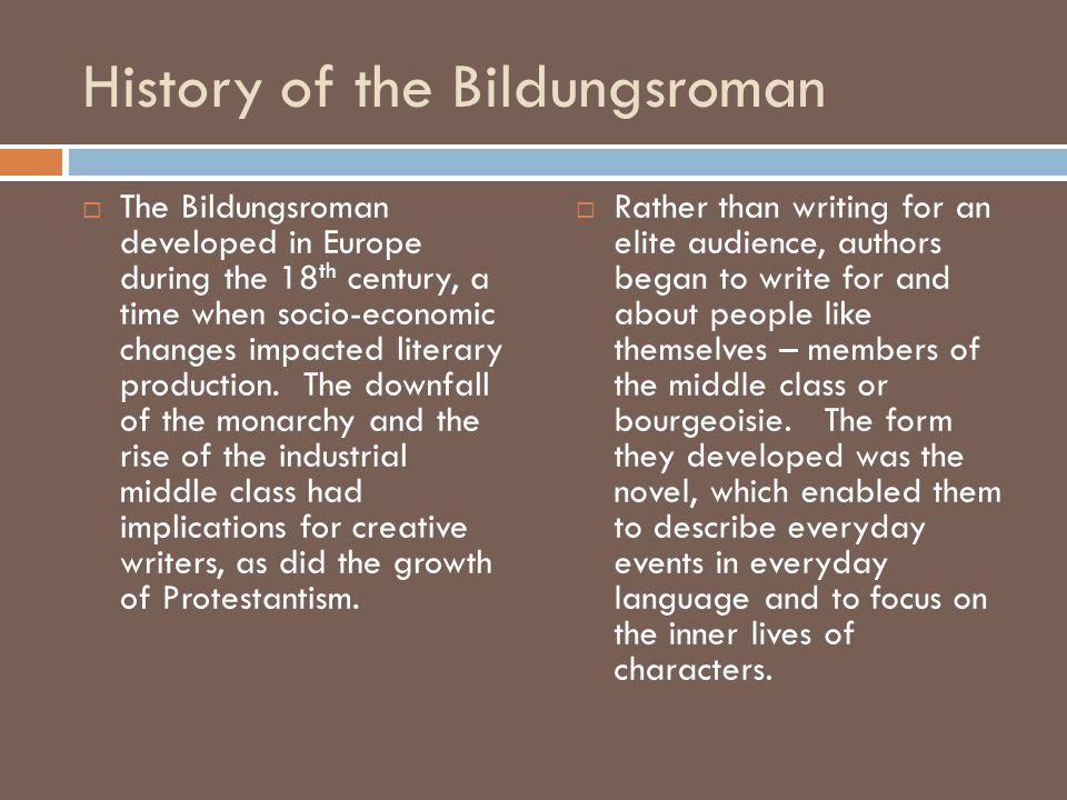 History of the Bildungsroman
