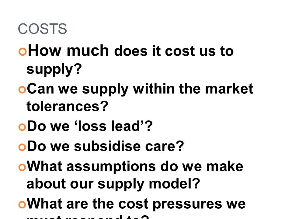 How much does it cost us to supply