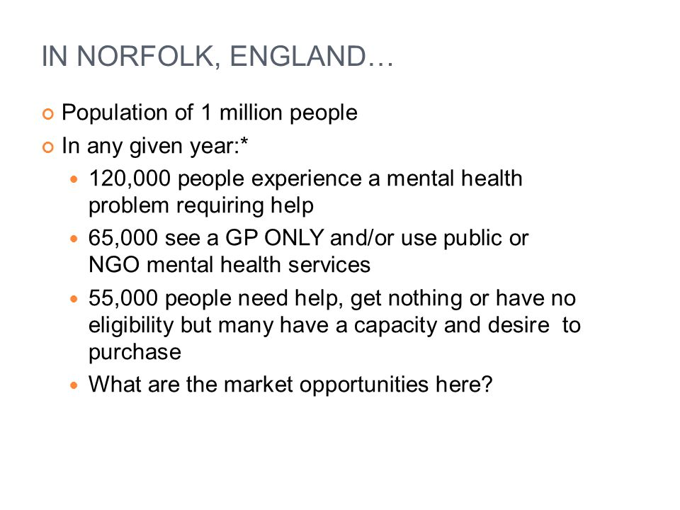 IN NORFOLK, ENGLAND… Population of 1 million people