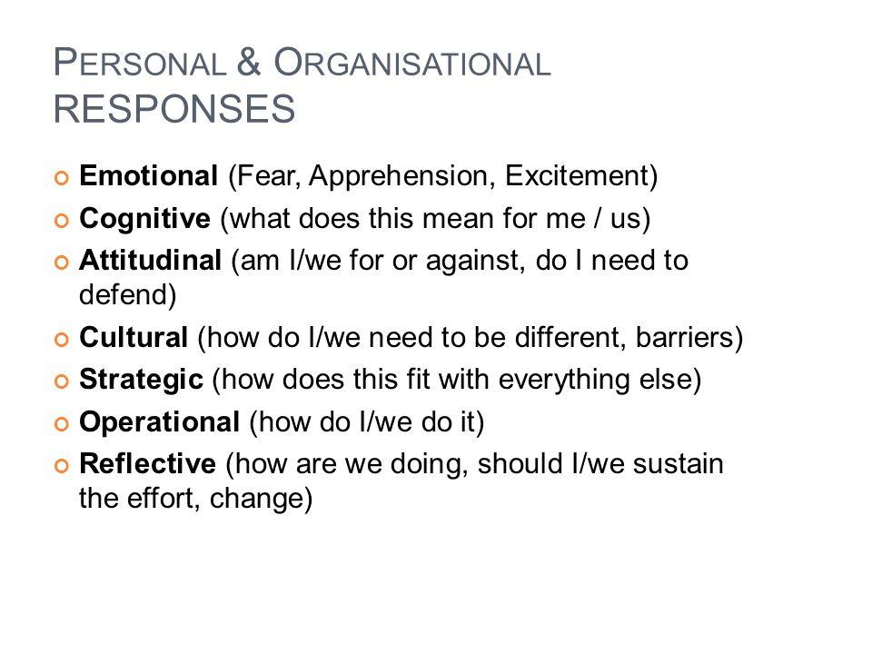 Personal & Organisational RESPONSES