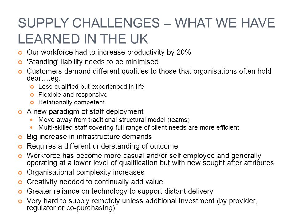 SUPPLY CHALLENGES – WHAT WE HAVE LEARNED IN THE UK