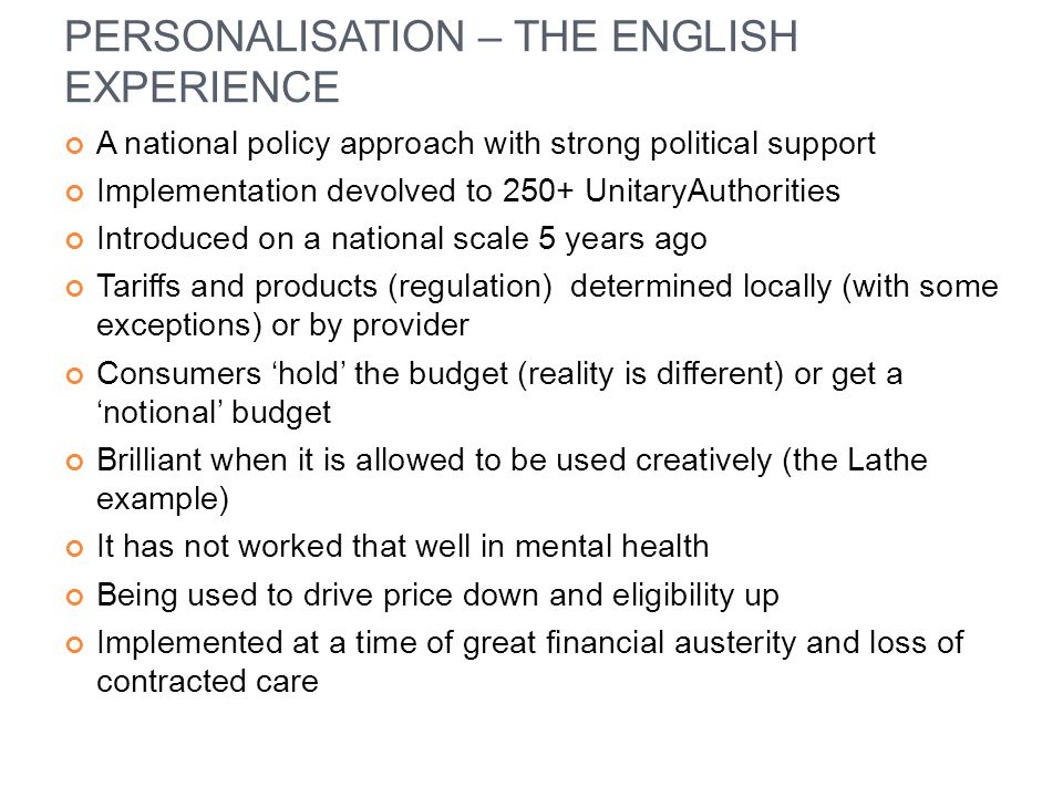 PERSONALISATION – THE ENGLISH EXPERIENCE