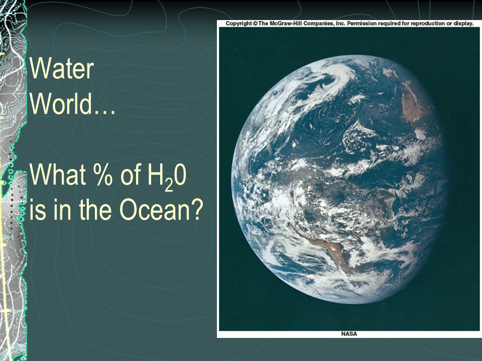 Water World… What % of H20 is in the Ocean