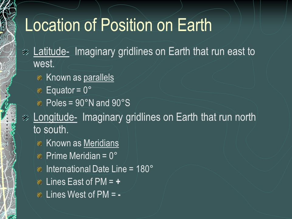 Location of Position on Earth