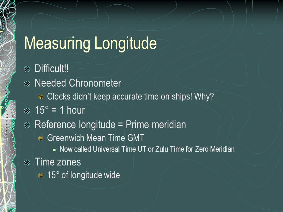 Measuring Longitude Difficult!! Needed Chronometer 15° = 1 hour