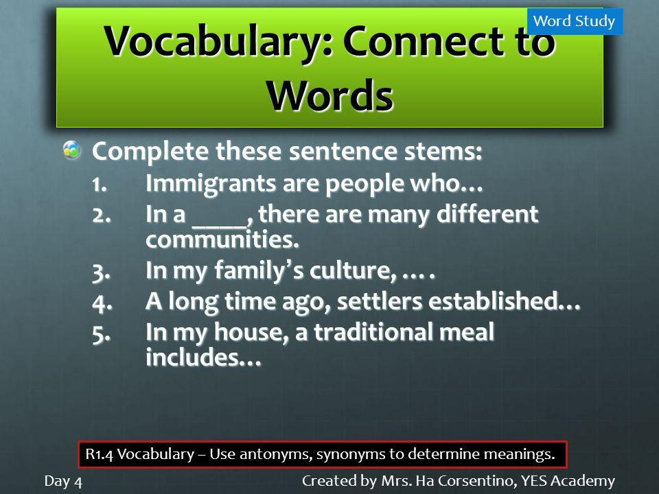 Vocabulary: Connect to Words
