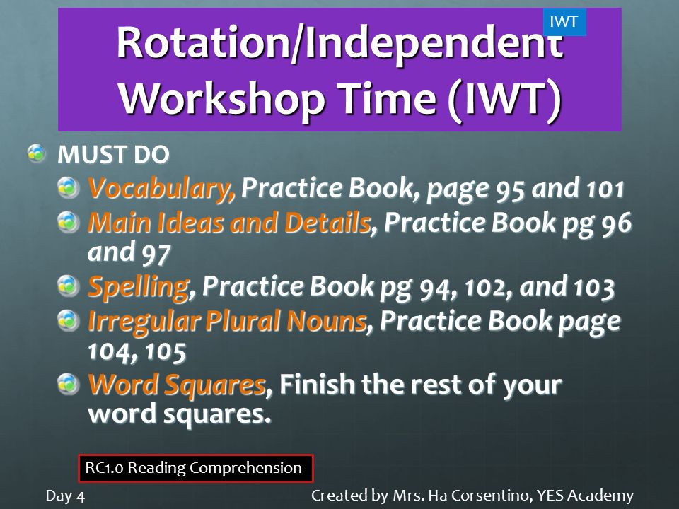 Rotation/Independent Workshop Time (IWT)