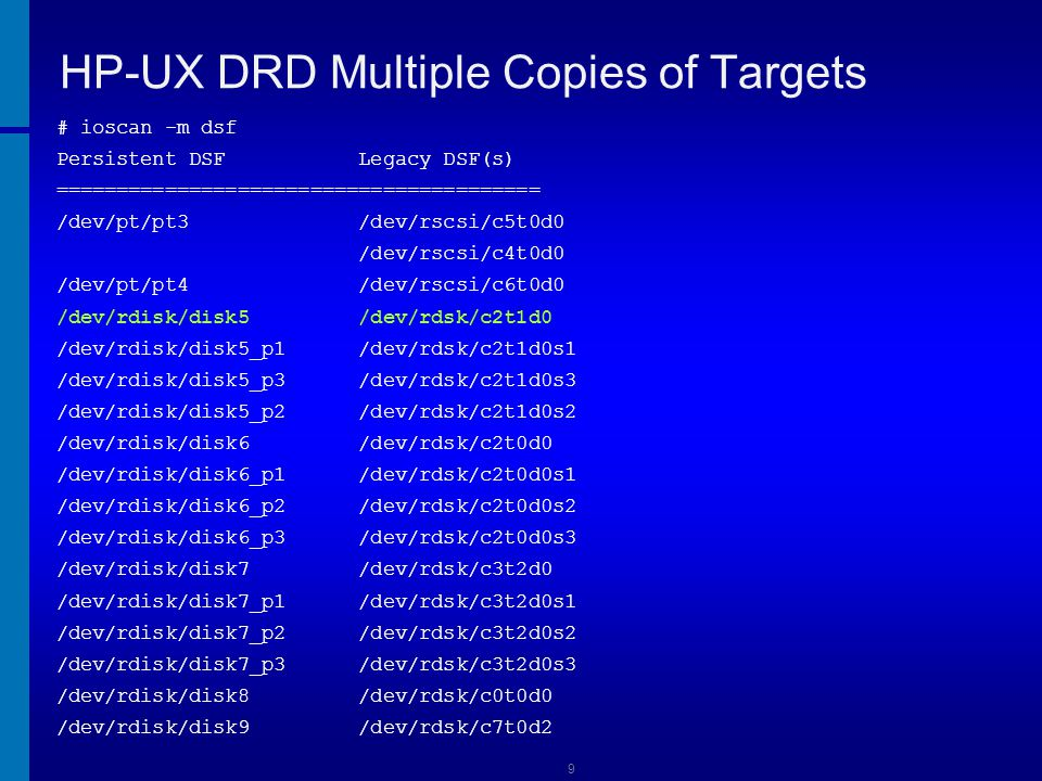 HP-UX DRD Multiple Copies of Targets