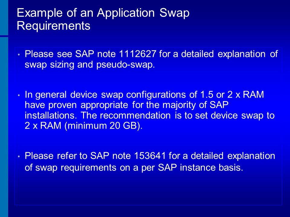 Example of an Application Swap Requirements