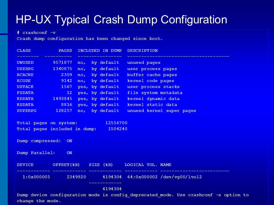 HP-UX Typical Crash Dump Configuration