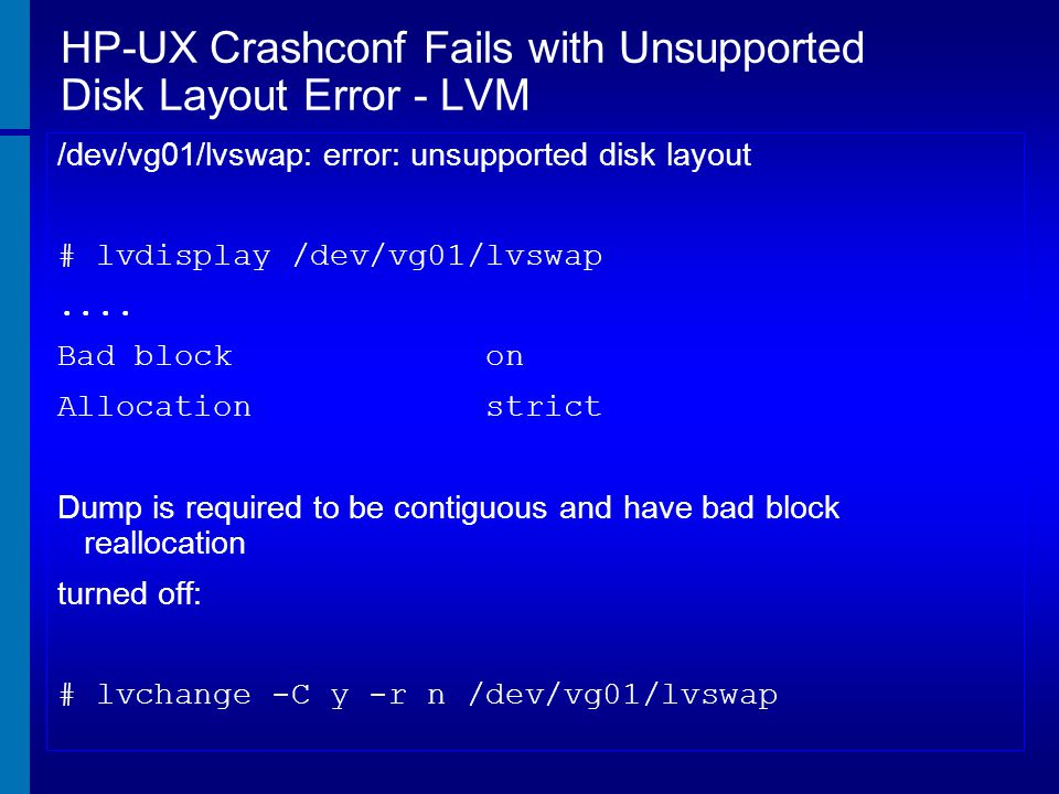 HP-UX Crashconf Fails with Unsupported Disk Layout Error - LVM