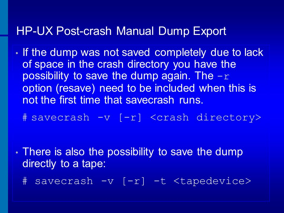 HP-UX Post-crash Manual Dump Export