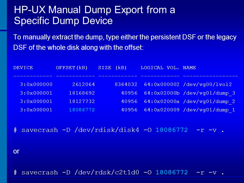 HP-UX Manual Dump Export from a Specific Dump Device