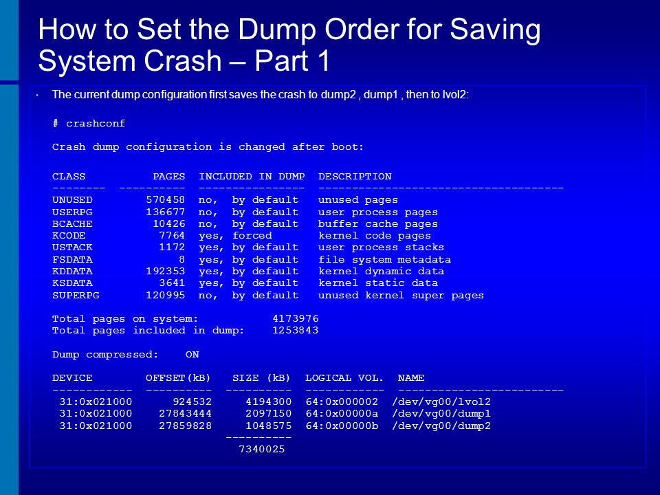 How to Set the Dump Order for Saving System Crash – Part 1