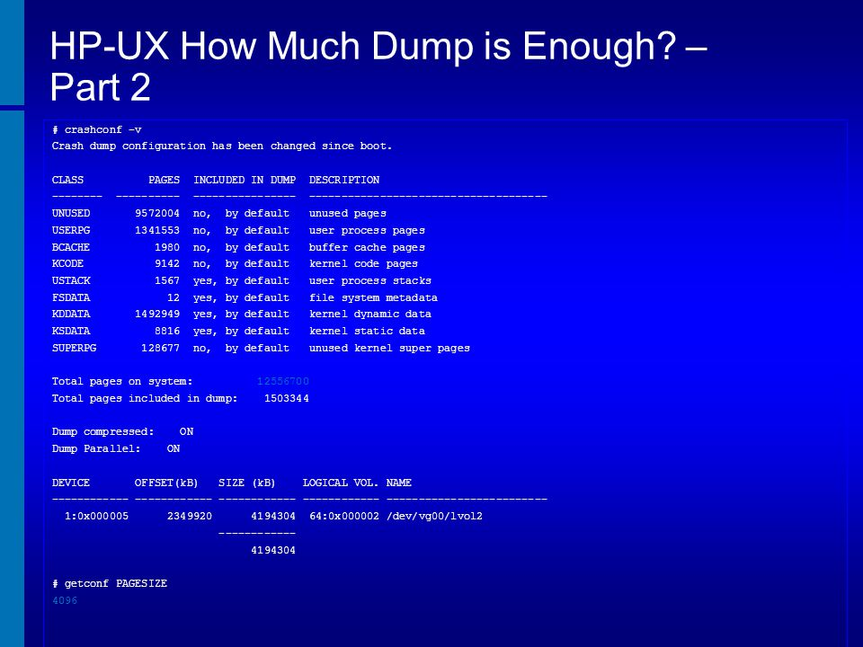 HP-UX How Much Dump is Enough – Part 2