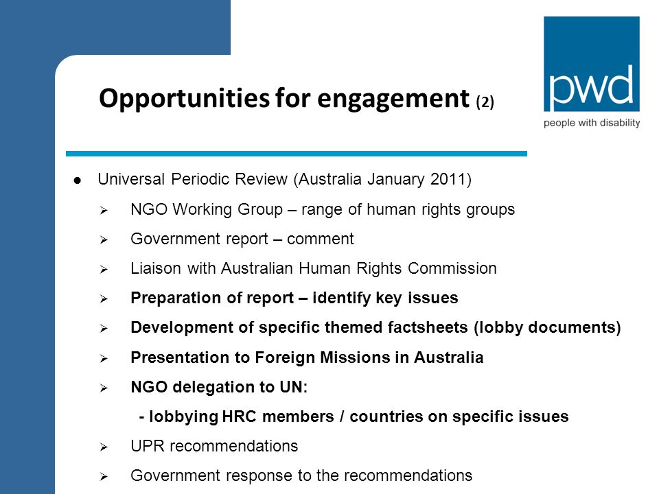 Opportunities for engagement (2)