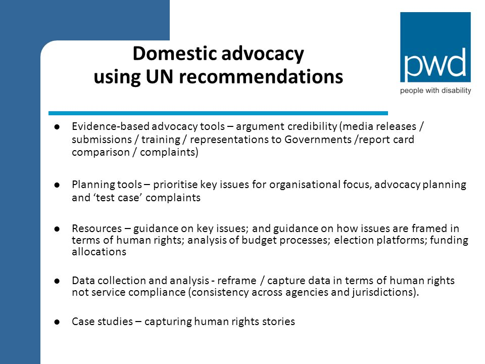 Domestic advocacy using UN recommendations
