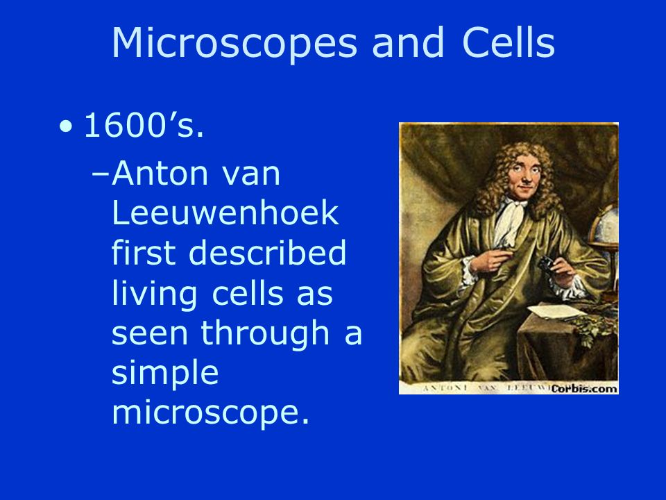 Microscopes and Cells 1600's.
