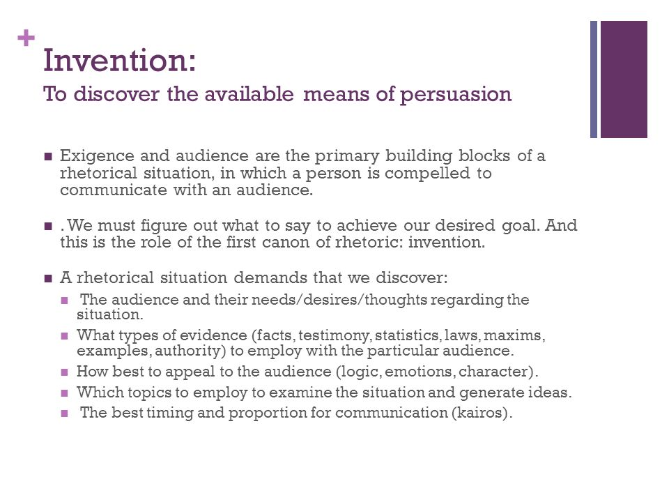 Invention: To discover the available means of persuasion