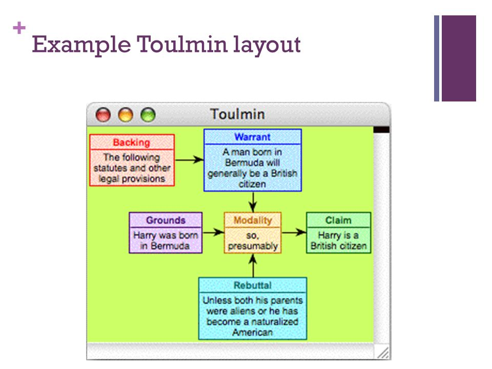 Example Toulmin layout