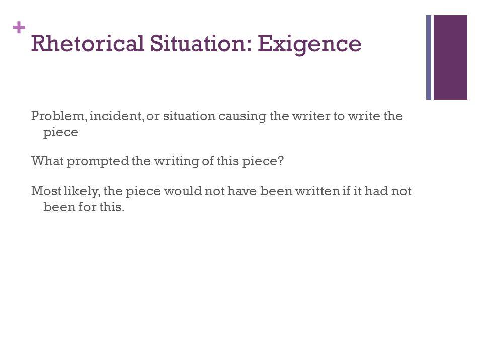 Rhetorical Situation: Exigence