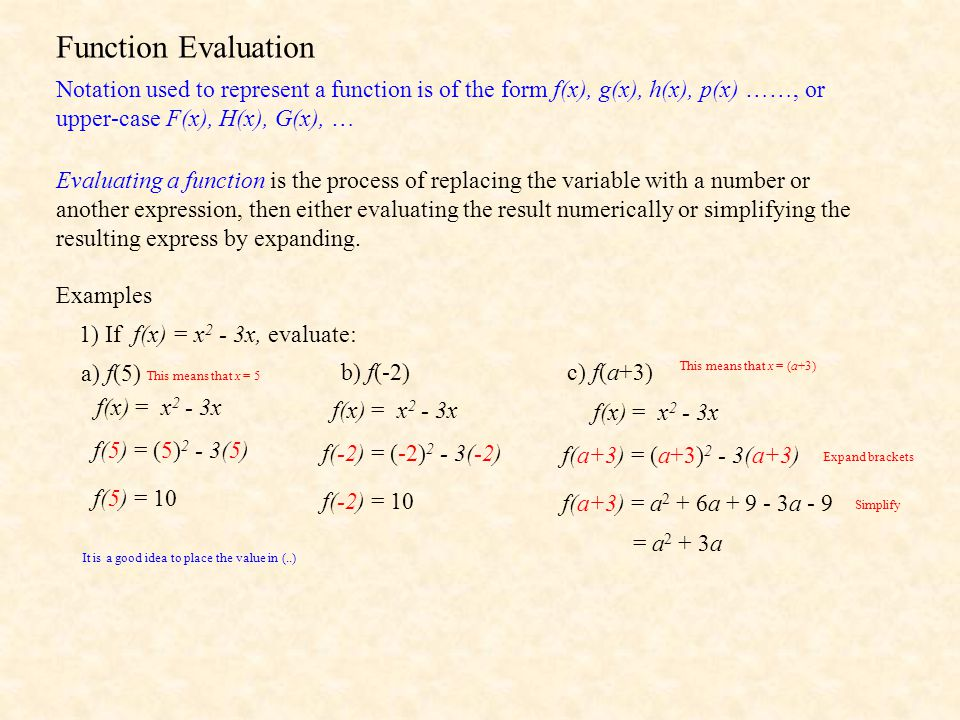 Function Evaluation Notation used to represent a function is of the form f(x), g(x), h(x), p(x) ……, or upper-case F(x), H(x), G(x), …
