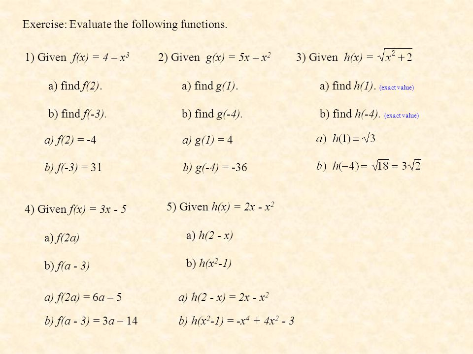 Exercise: Evaluate the following functions.