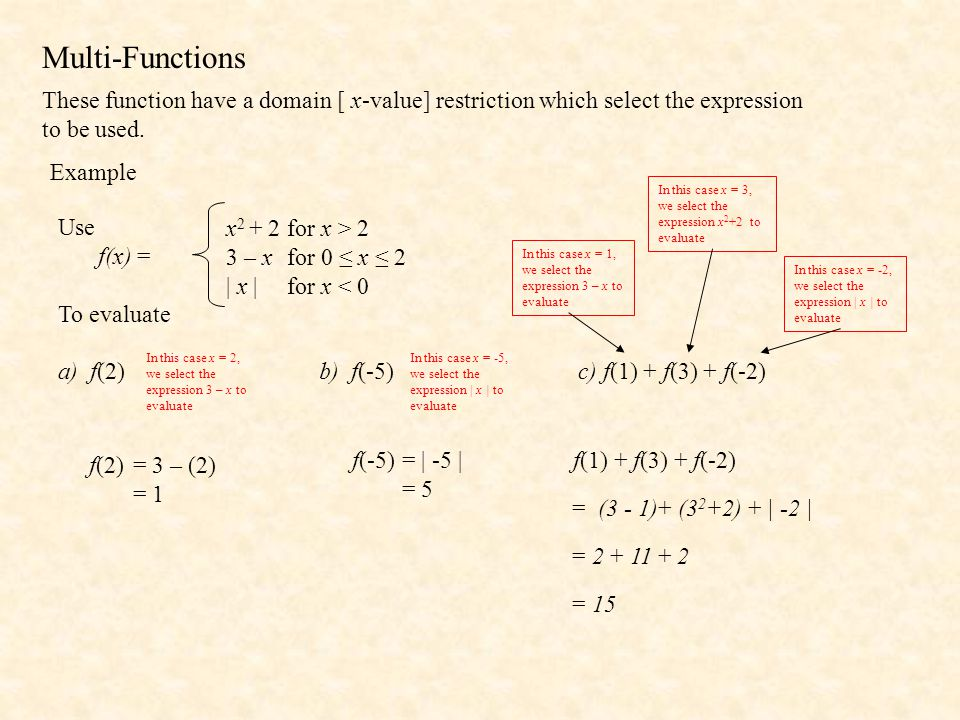 Multi-Functions These function have a domain [ x-value] restriction which select the expression to be used.
