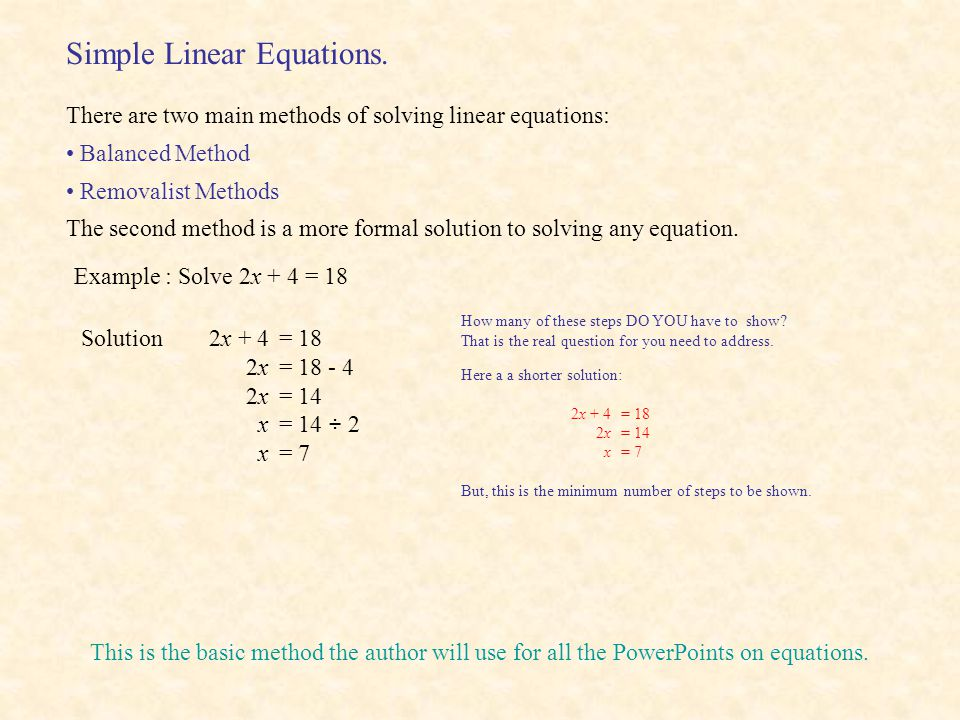 Simple Linear Equations.