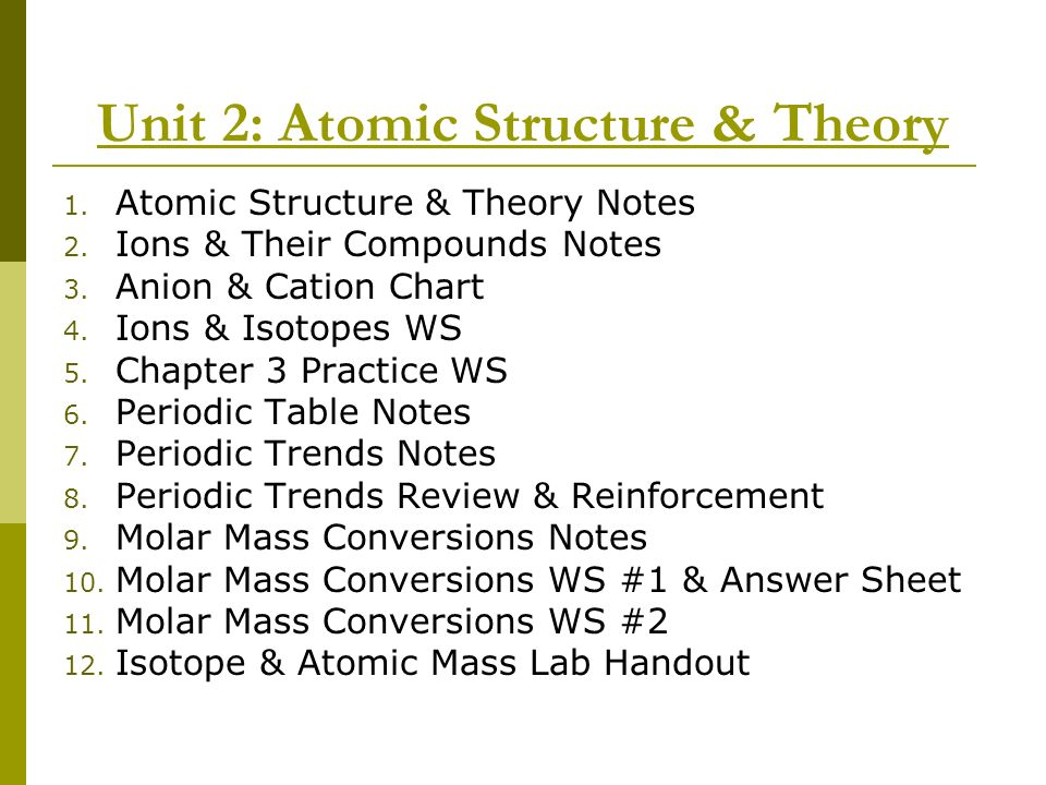 Unit 2: Atomic Structure & Theory