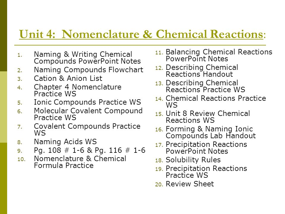 Unit 4: Nomenclature & Chemical Reactions: