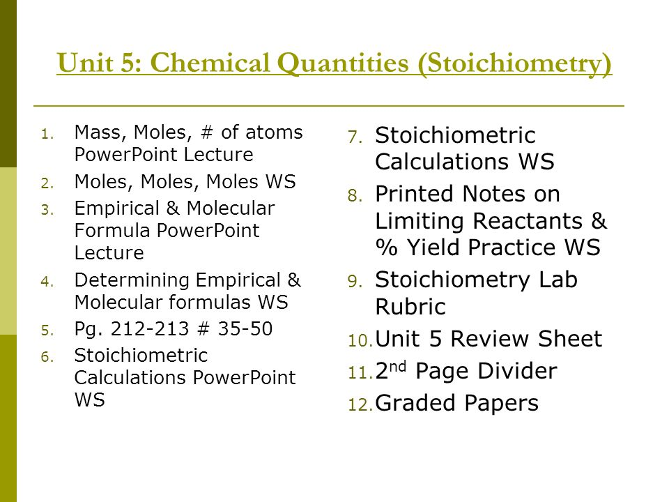 Unit 5: Chemical Quantities (Stoichiometry)