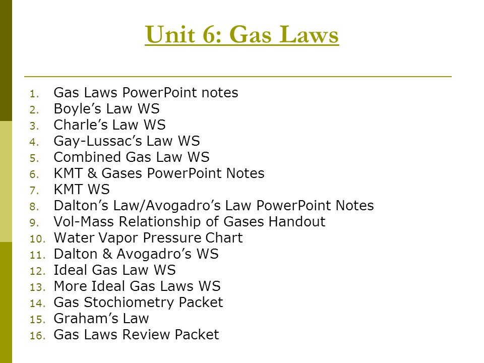 Unit 6: Gas Laws Gas Laws PowerPoint notes Boyle's Law WS