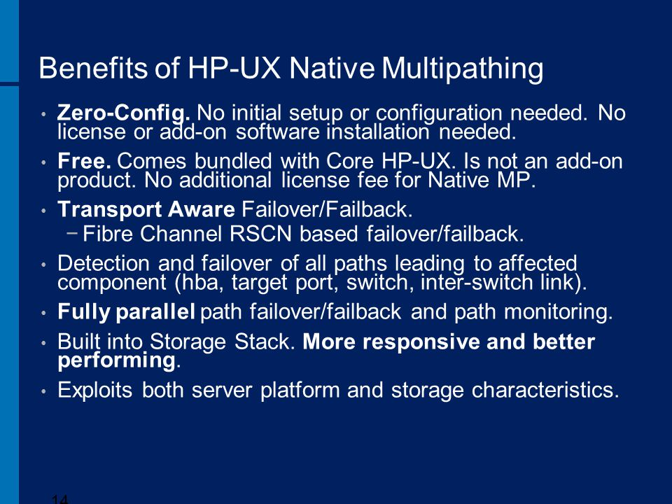 Benefits of HP-UX Native Multipathing