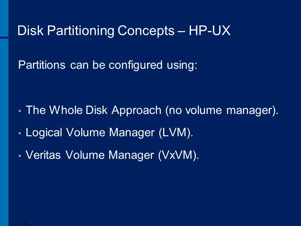 Disk Partitioning Concepts – HP-UX
