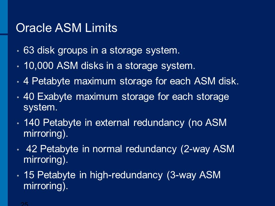 Oracle ASM Limits 63 disk groups in a storage system.