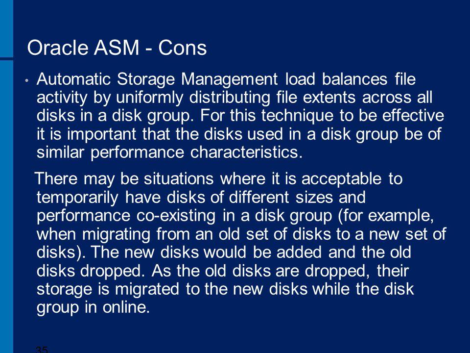 Oracle ASM - Cons