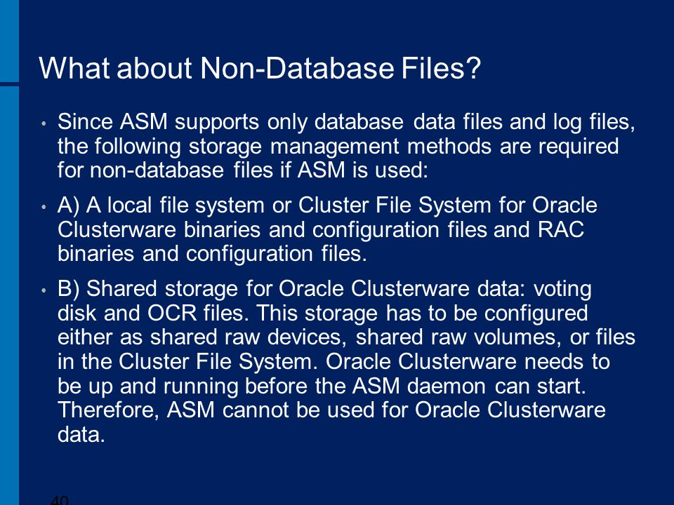 What about Non-Database Files