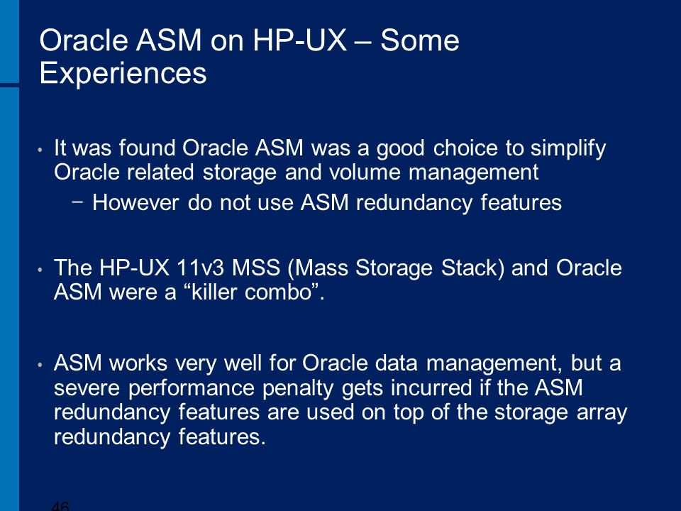 Oracle ASM on HP-UX – Some Experiences