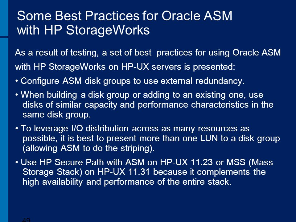 Some Best Practices for Oracle ASM with HP StorageWorks