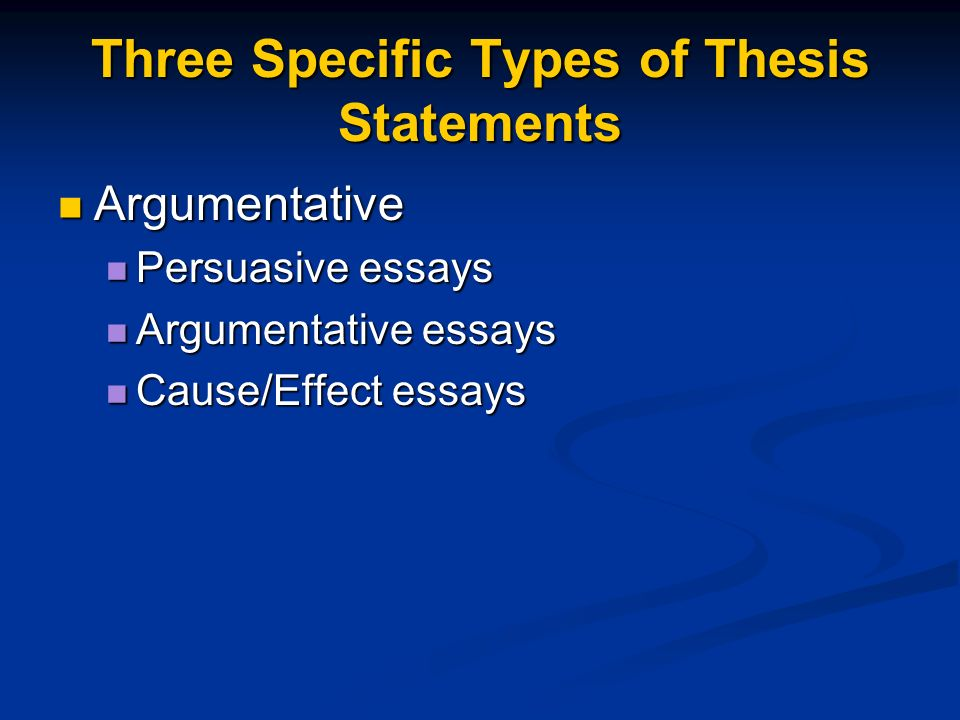 Three types of cause and effect essays