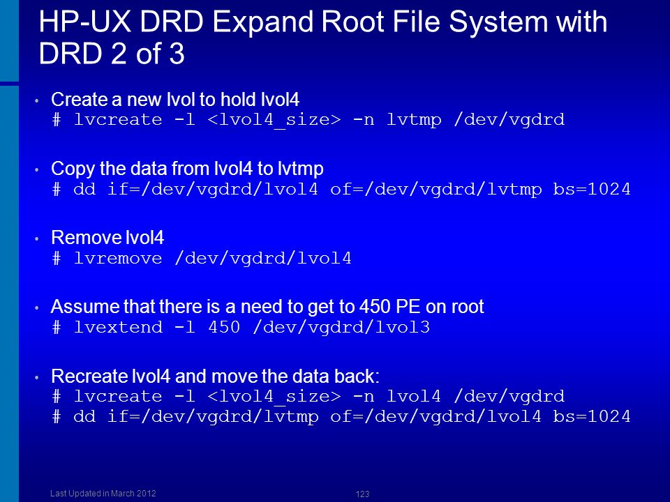 HP-UX DRD Expand Root File System with DRD 2 of 3