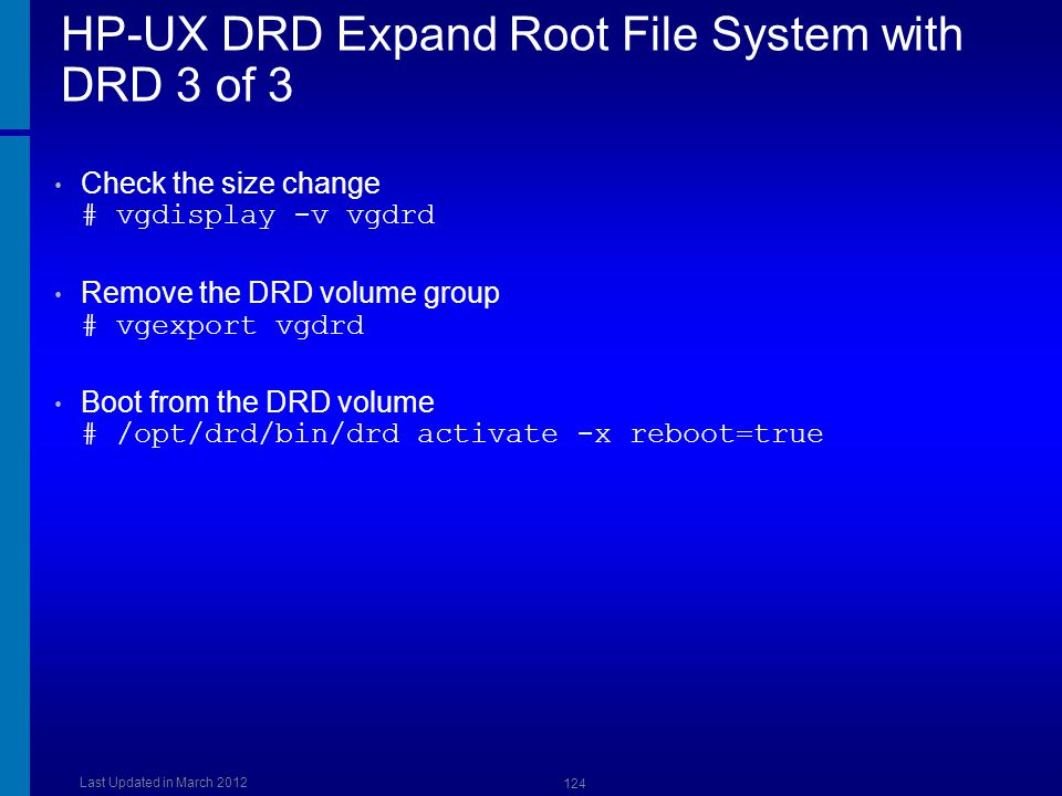 HP-UX DRD Expand Root File System with DRD 3 of 3