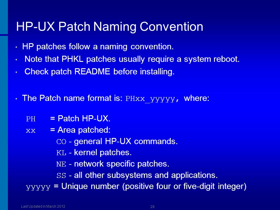 HP-UX Patch Naming Convention