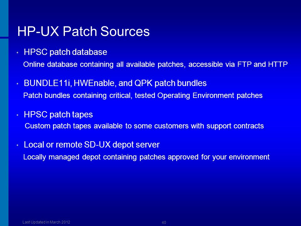 HP-UX Patch Sources HPSC patch database