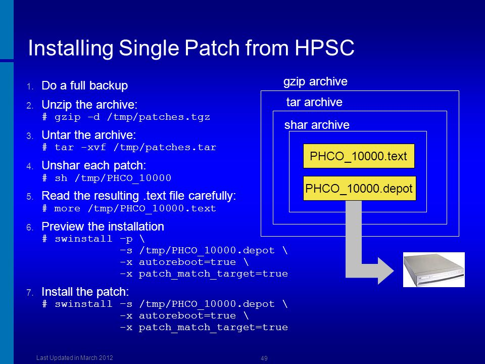 Installing Single Patch from HPSC