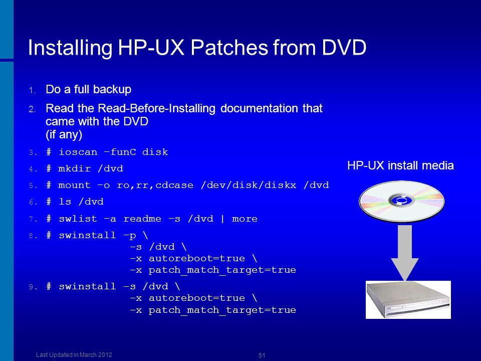 Installing HP-UX Patches from DVD
