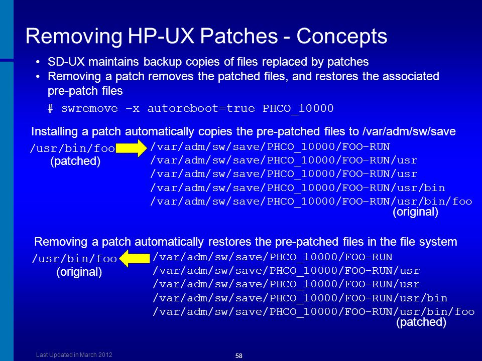 Removing HP-UX Patches - Concepts