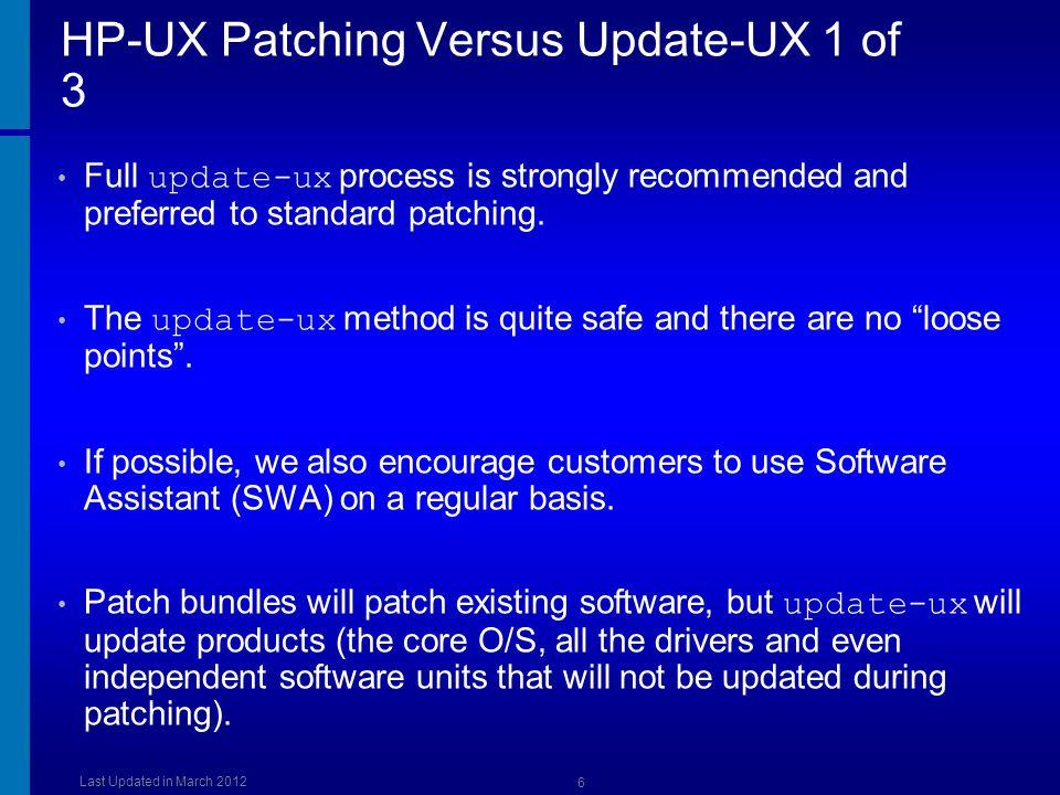 HP-UX Patching Versus Update-UX 1 of 3