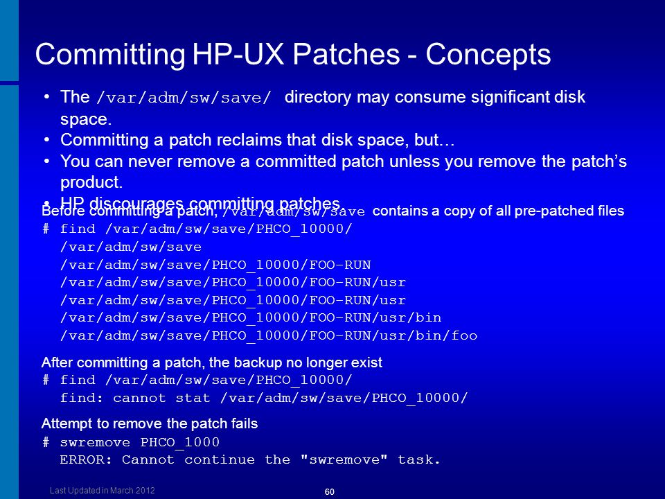 Committing HP-UX Patches - Concepts